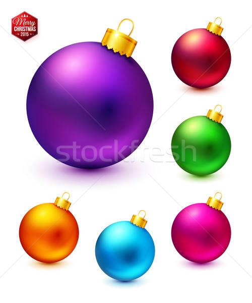 セット 現実的な カラフル クリスマス ベクトル ストックフォト © alevtina