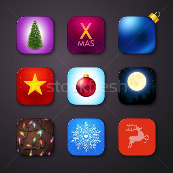 набор иконки стилизованный подобно мобильных приложение Сток-фото © alevtina