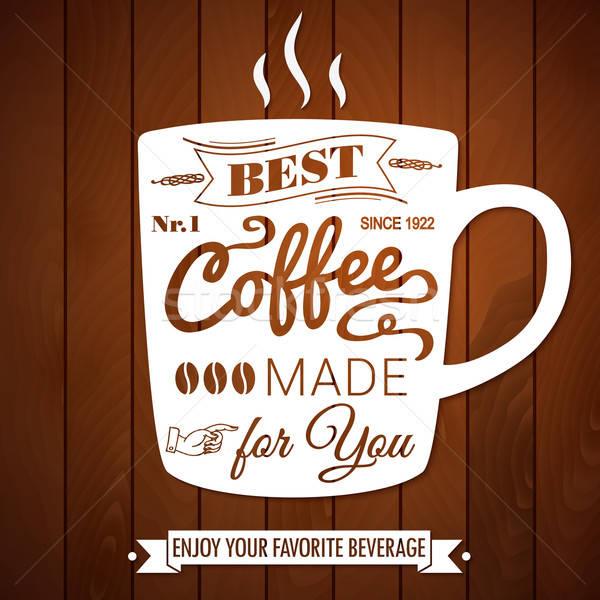 Vintage koffie poster donkere houten vector Stockfoto © alevtina