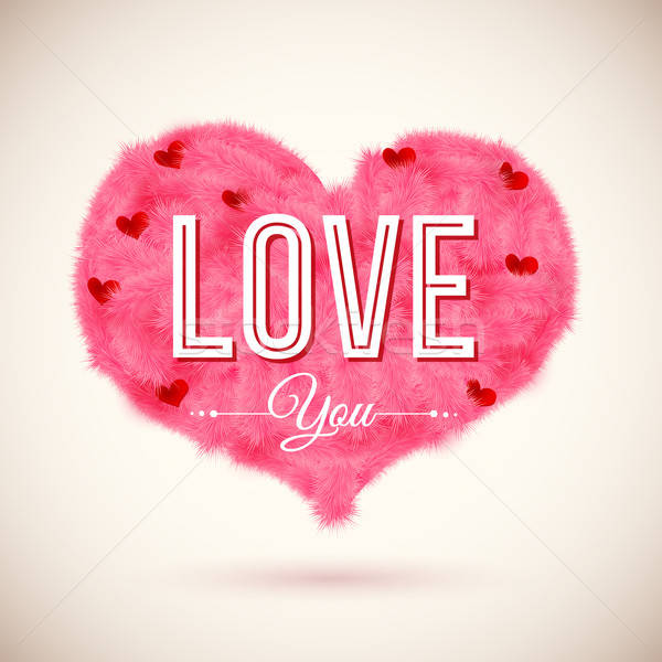 Stock photo: Fluffy heart icon for Your romantic design. Vector illustration.