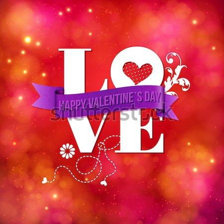 Duygusal sevmek mutlu sevgililer günü kart beyaz Stok fotoğraf © alevtina