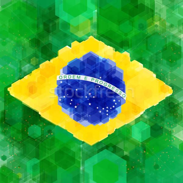 Stilize bayrak Brezilya altıgen doku dizayn Stok fotoğraf © alevtina