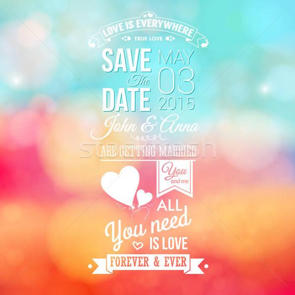 保存 日付 個人 休日 結婚式招待状 ぼやけた ストックフォト © alevtina