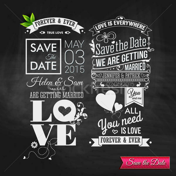 Save the date for personal holiday. Vintage typography wedding s Stock photo © alevtina