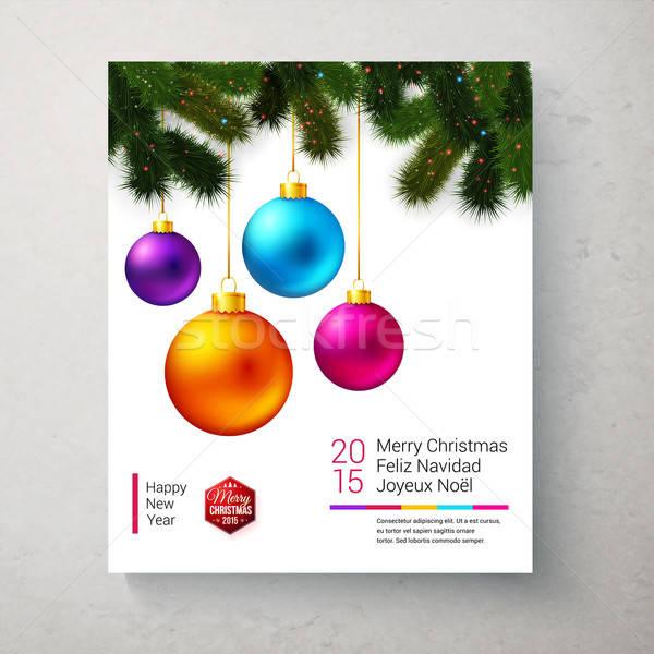 Vacances carte lumineuses coloré Noël Photo stock © alevtina