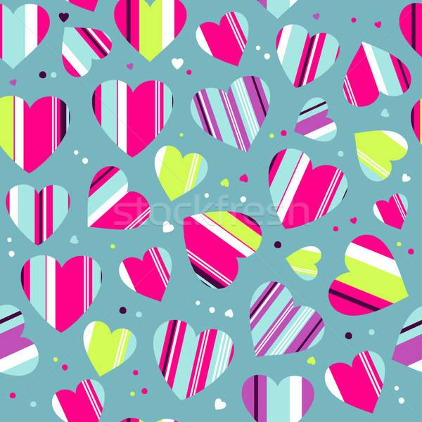 Coloré rayé coeurs vecteur image Photo stock © alevtina