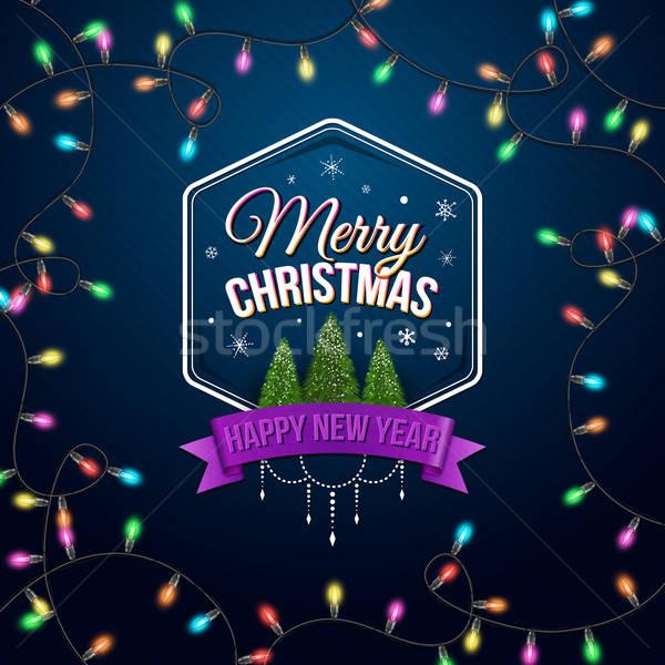 Typographique étiquette joyeux Noël happy new year hiver Photo stock © alevtina