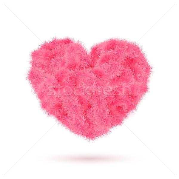 розовый мех сердце Валентин дизайна текстуры Сток-фото © alevtina