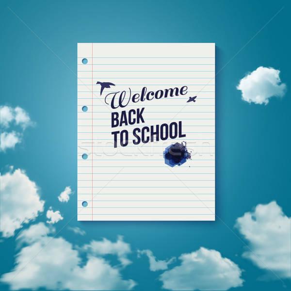 приветствую Снова в школу плакат небе вектора Сток-фото © alevtina