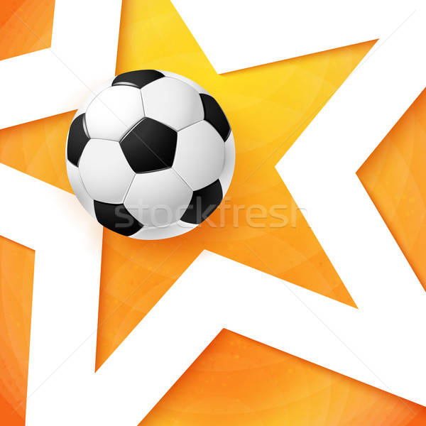 Soccer football poster. Bright orange background, white star and Stock photo © alevtina