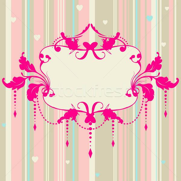 Stockfoto: Pastel · romantische · kaart · frame · vector