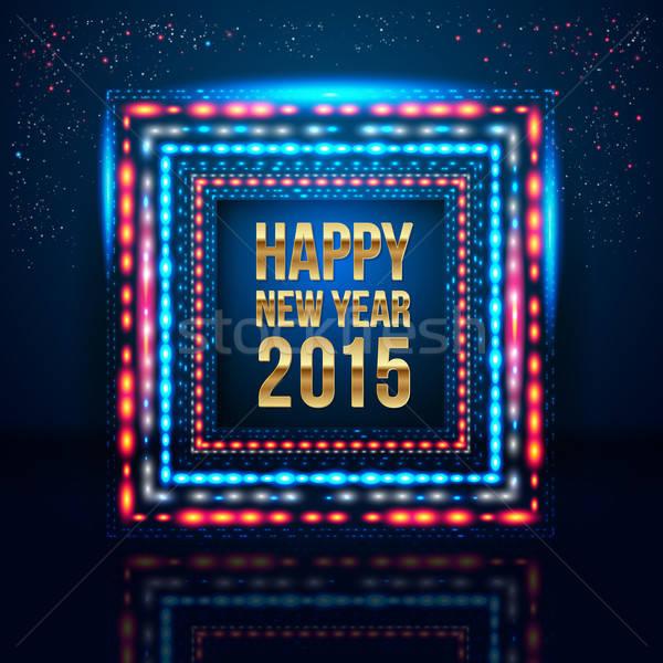 Buon anno 2015 poster frame luci vettore Foto d'archivio © alevtina