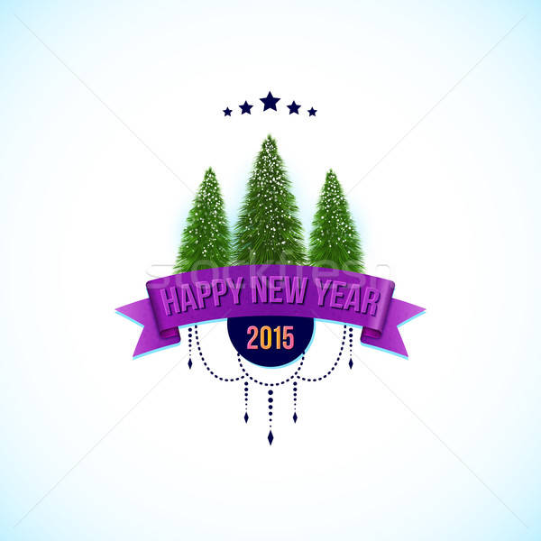 Gelukkig nieuwjaar label bomen textuur boom Stockfoto © alevtina