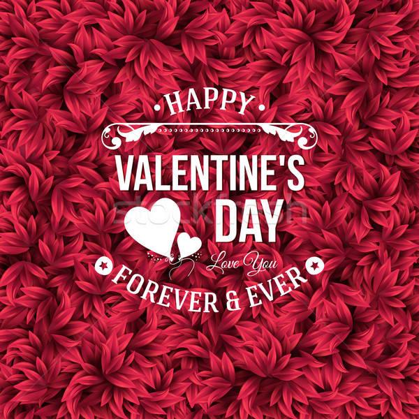バレンタイン 日 タイポグラフィ デザイン 赤 葉 ストックフォト © alevtina