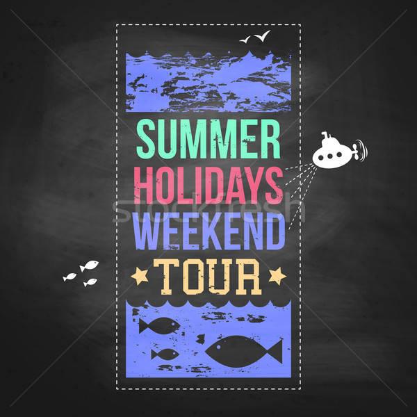 Zomer vakantie advertentie schoolbord typografie ontwerp Stockfoto © alevtina