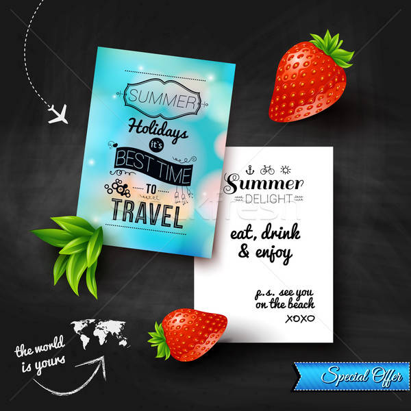 Zomer vakantie poster effect schoolbord Stockfoto © alevtina
