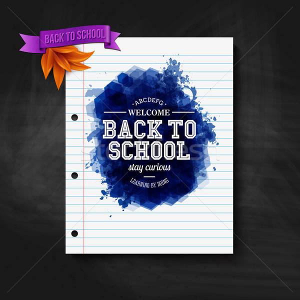 Terug naar school kaart schoolbord typografie ontwerp vector Stockfoto © alevtina