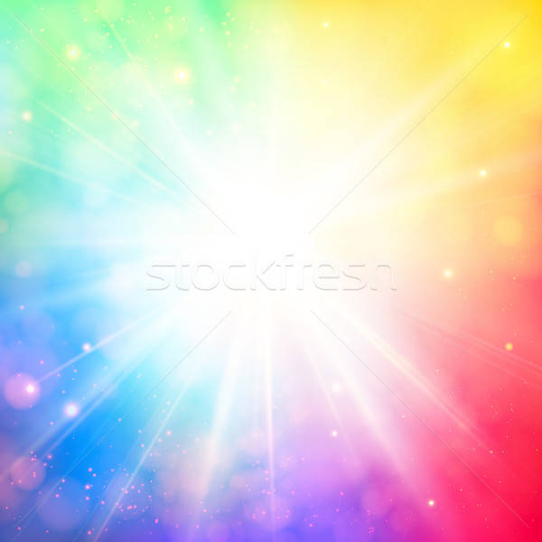 Bright shining sun with lens flare. Soft background with bokeh e Stock photo © alevtina