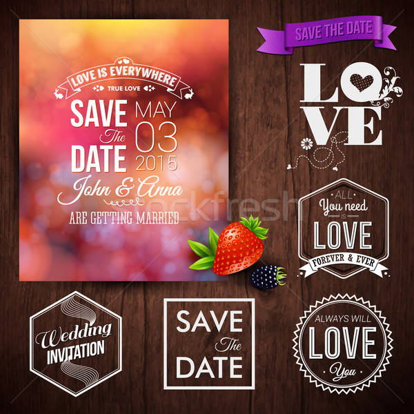 Save the date for personal holiday cards. Wedding invitation set Stock photo © alevtina