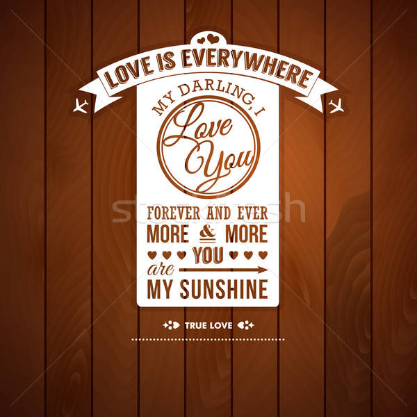 Love you poster in retro style on a wooden background.  Stock photo © alevtina