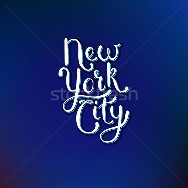 ニューヨーク市 青 バイオレット 単純な 白 文字 ストックフォト © alevtina