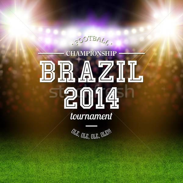 Brazylia 2014 piłka nożna plakat stadion typografii Zdjęcia stock © alevtina