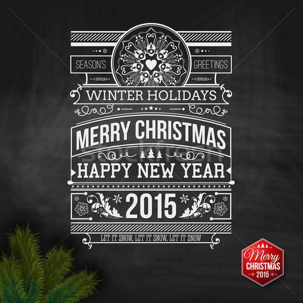 Photo stock: Noël · typographie · hiver · vacances · design · vecteur