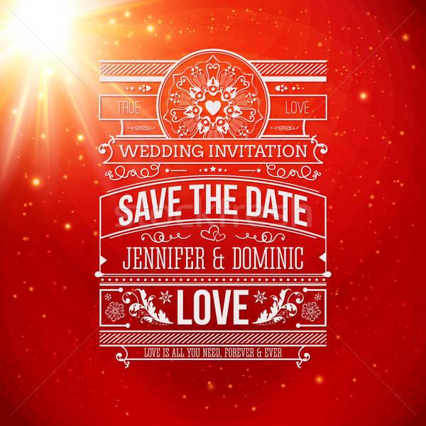 Mettre date personnelles vacances invitation de mariage classique Photo stock © alevtina