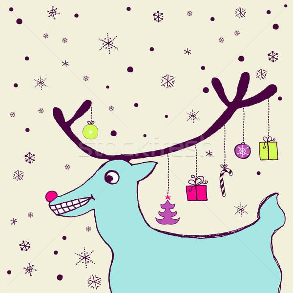 праздник карт смешные дружественный северный олень Сток-фото © alevtina