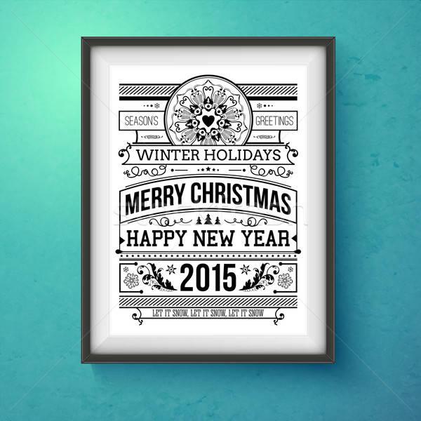 Vintage christmas ontwerp realistisch frame muur Stockfoto © alevtina