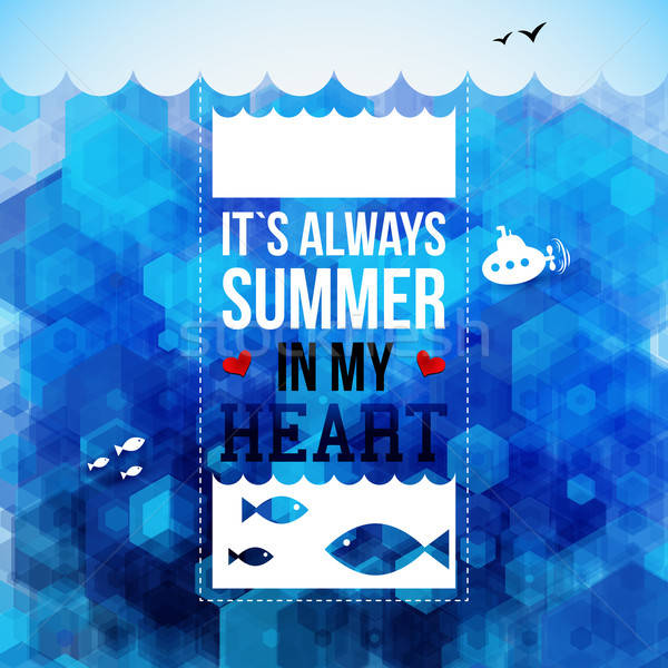 Bright summer holidays poster. Hexagon background. Typography de Stock photo © alevtina