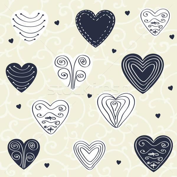 романтические шаблон рисованной сердцах бежевый синий Сток-фото © alevtina