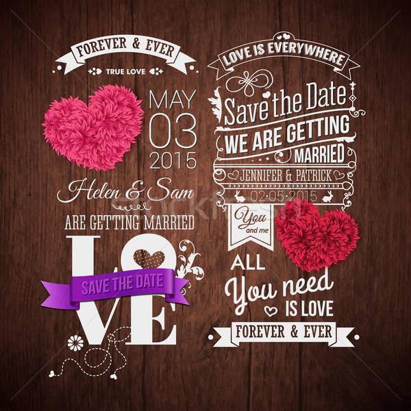 Houten typografie ontwerp decoratief harten opslaan Stockfoto © alevtina