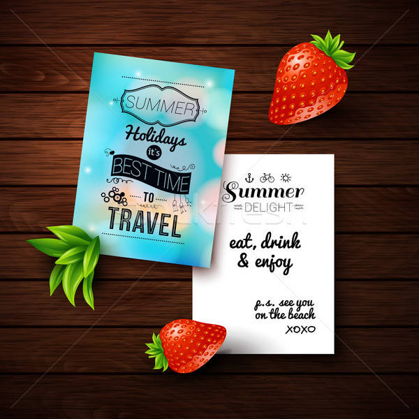 Summer holidays poster with blurry effect on a wooden background Stock photo © alevtina