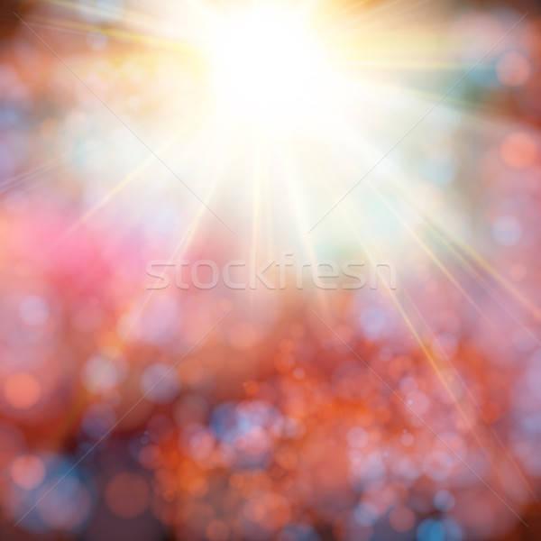 Fényes ragyogó nap becsillanás puha bokeh Stock fotó © alevtina