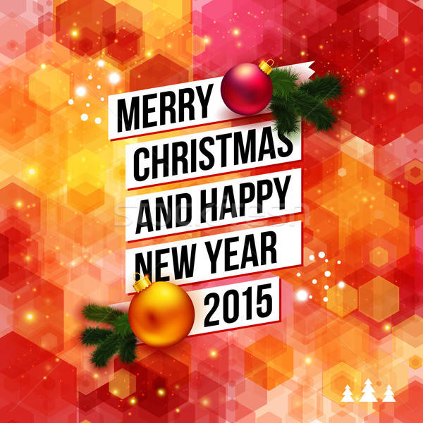 Merry Christmas and Happy New Year 2015 card. Bright hexagon bac Stock photo © alevtina
