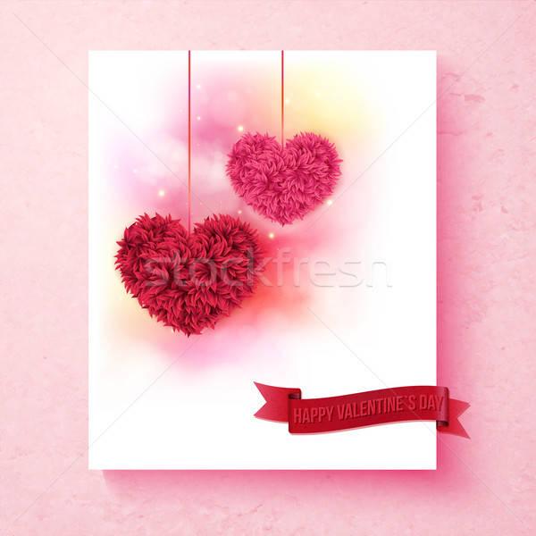 Duygusal dizayn kalpler renkli pembe Stok fotoğraf © alevtina