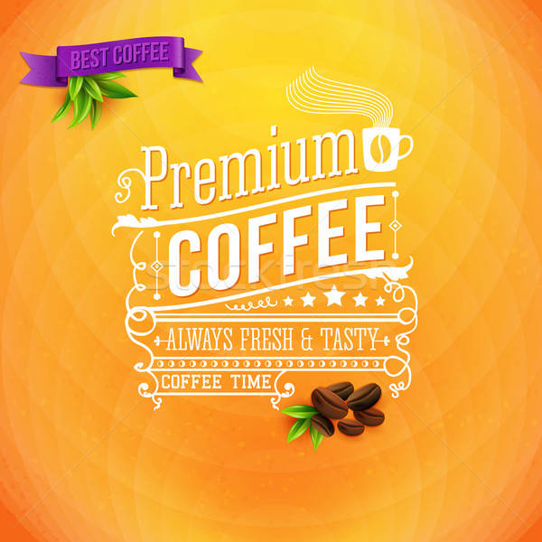 Premium coffee poster, typography design. Bright orange backgrou Stock photo © alevtina