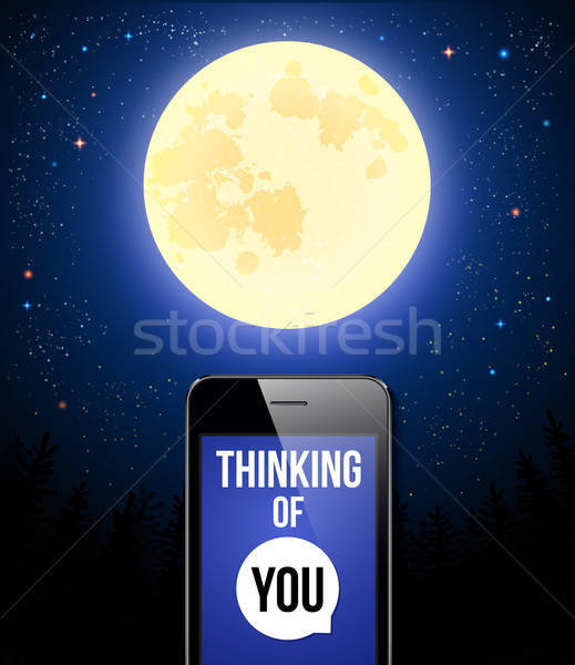 Thinking of You. Romantic poster with night scene, full moon and Stock photo © alevtina