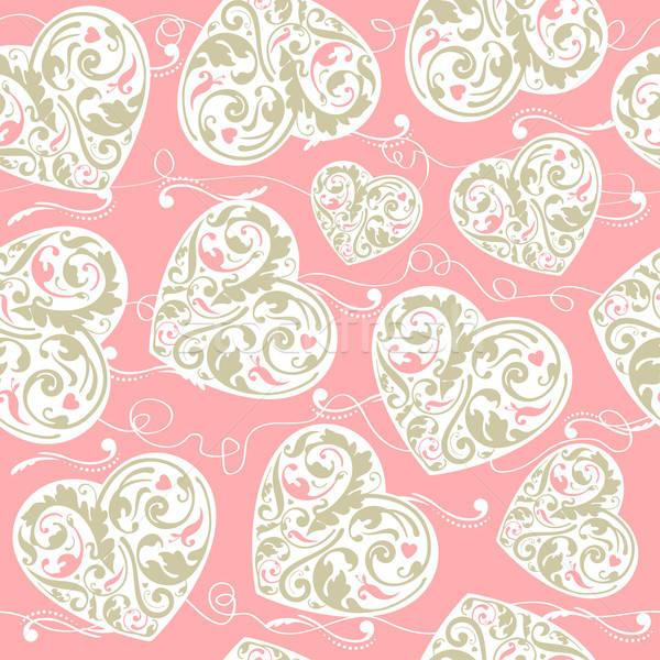 ピンク ベージュ パターン エレガントな 心 ストックフォト © alevtina