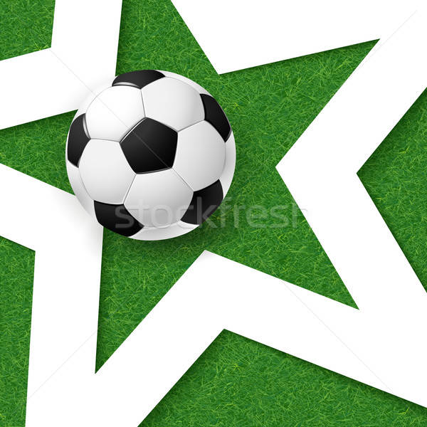 Soccer football poster. Grass background with white star and soc Stock photo © alevtina