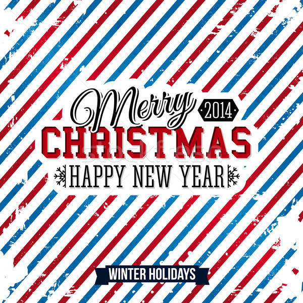 Merry Christmas and Happy new year card on a bright stripy backg Stock photo © alevtina