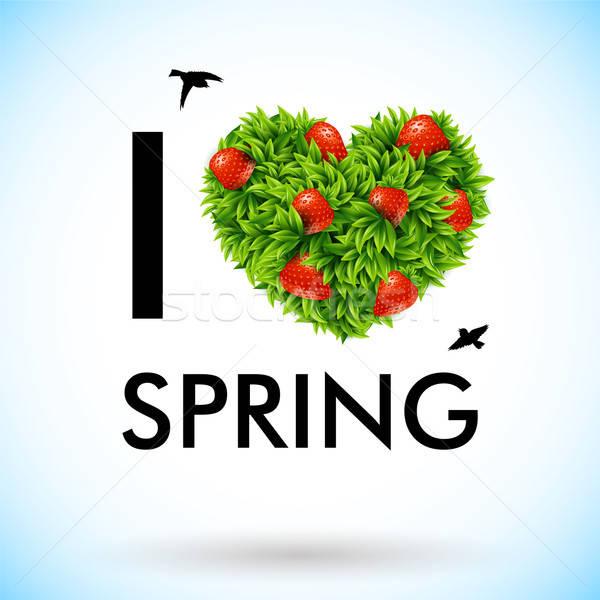 Amour printemps coeur design vert fraise Photo stock © alevtina