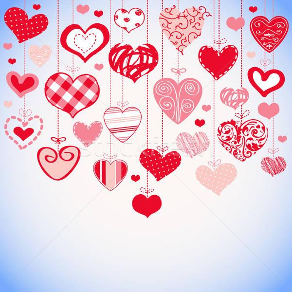 декоративный романтические карт стилизованный сердцах вектора Сток-фото © alevtina