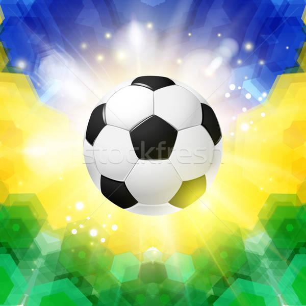 サッカー サッカー ポスター モザイク ブラジル フラグ ストックフォト © alevtina