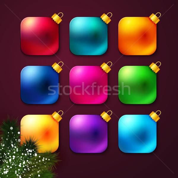 Ingesteld kleurrijk christmas gestileerde zoals Stockfoto © alevtina