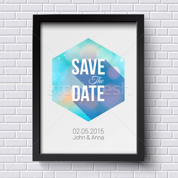 Save the date for personal holiday. Wedding invitation. Black fr Stock photo © alevtina