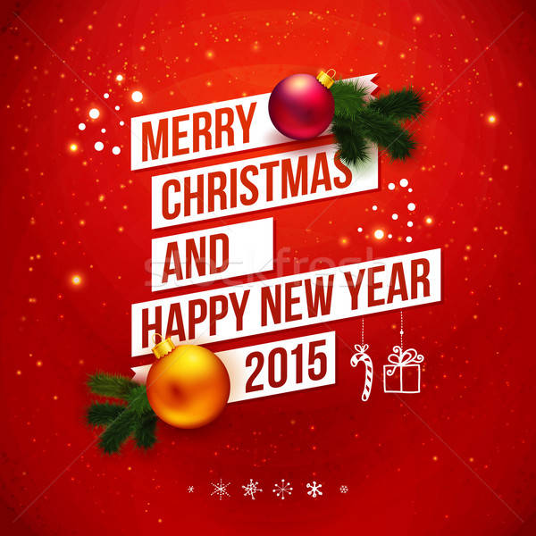 Bright Christmas and New 2015 year card . Red traditional backgr Stock photo © alevtina