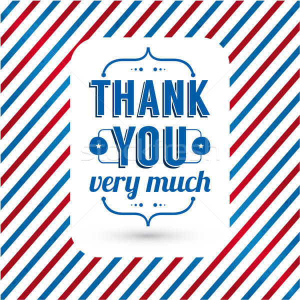 Stock photo: Thank you card on tricolor grunge background.