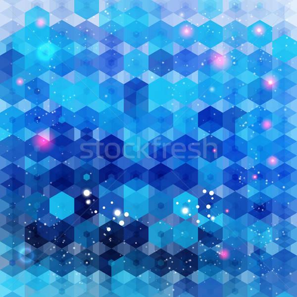 синий шестиугольник вектора изображение текстуры вечеринка Сток-фото © alevtina